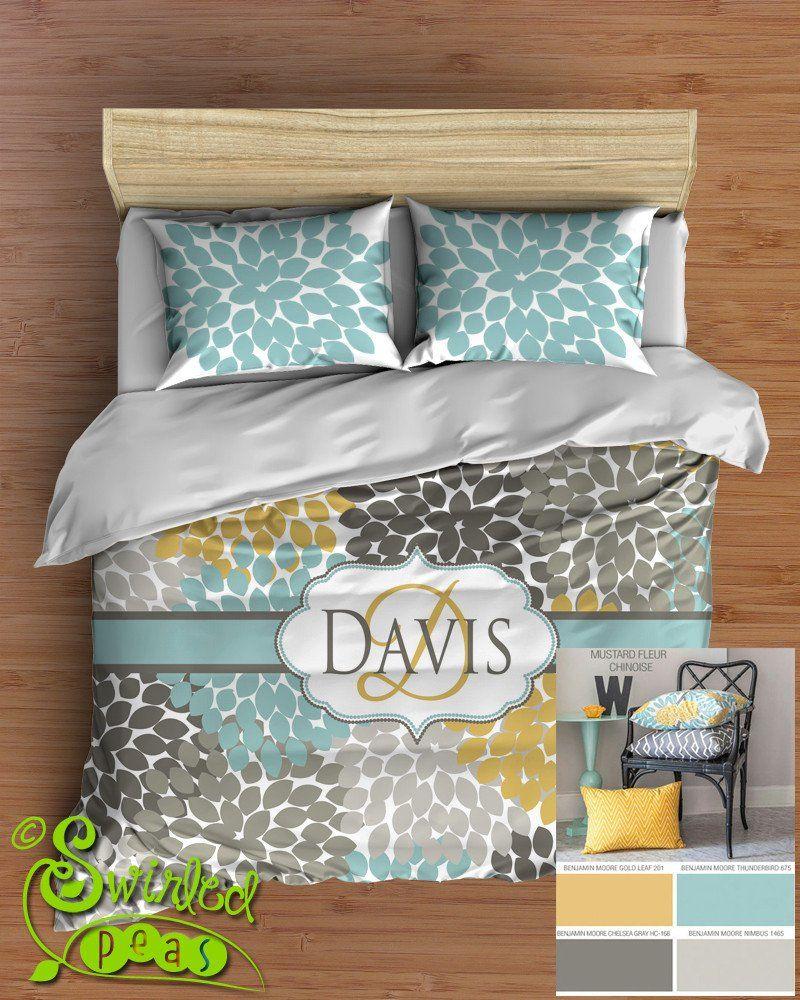 Dahlia Floral Bedding Comforter Or Duvet Bed Set Personalized
