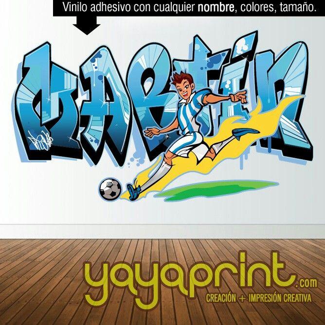 Graffiti de nombre hecho de vinilo adhesivo para decorar for Vinilos dormitorio