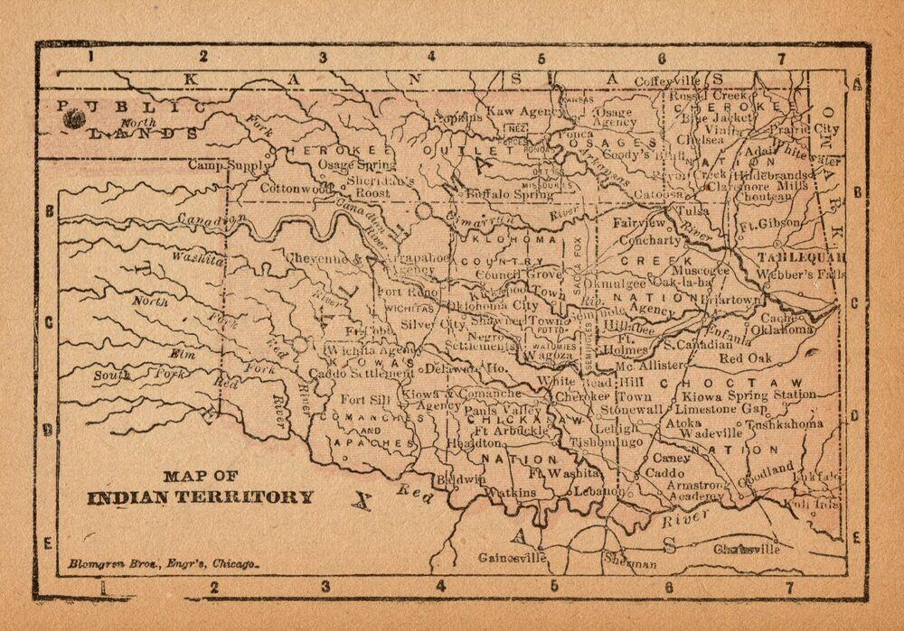 Rare Antique Indian Territory Map 1888 Rare Miniature Vintage Oklahoma Map 6843 Map Miniature Map Indian Territory