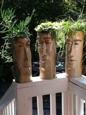 Pot Heads/ Ceramic Sculpture By LisaLeeSculpture.com by Linda Wynne