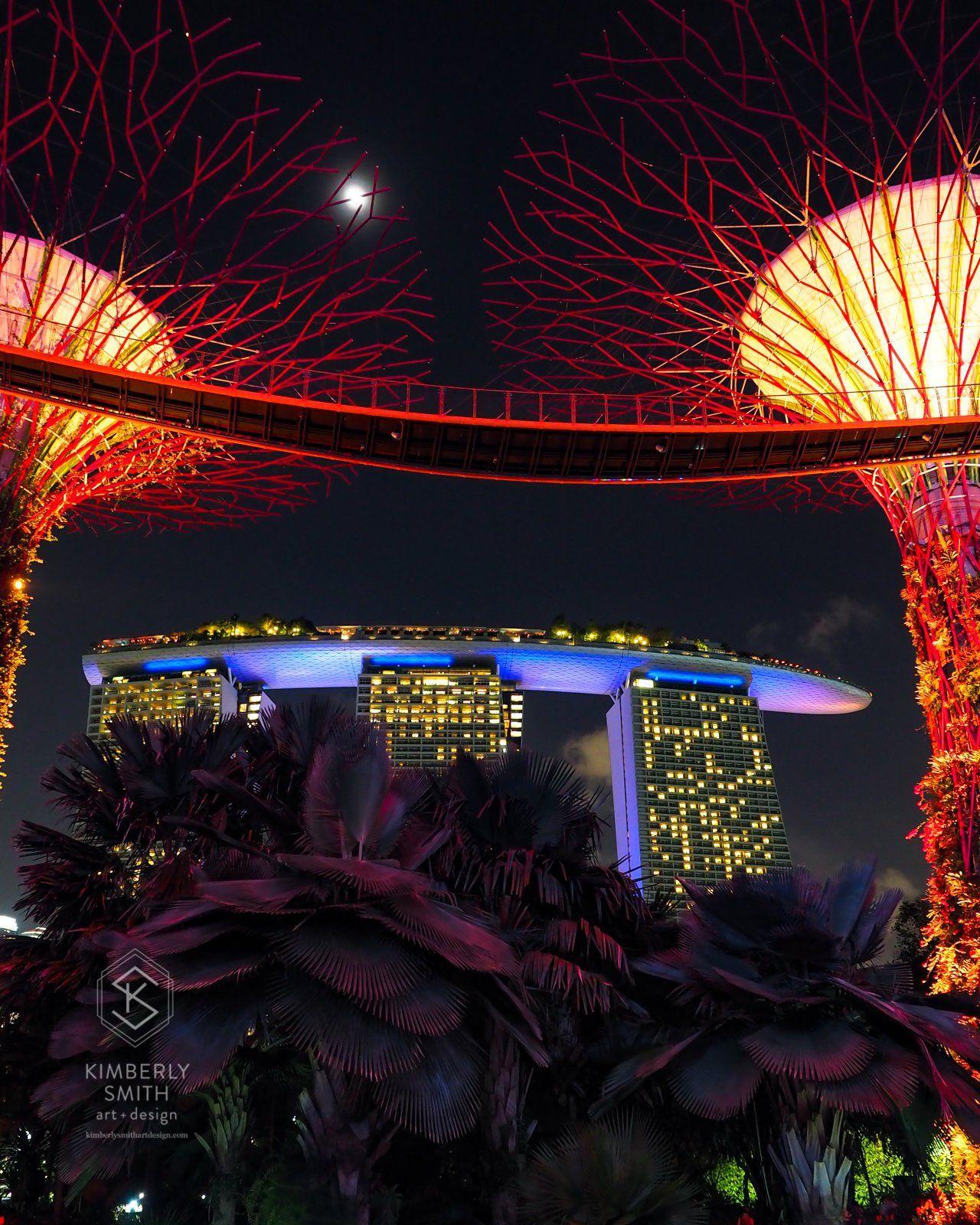 Neon Trees Singapore - Colorful Night Architecture Fine Art