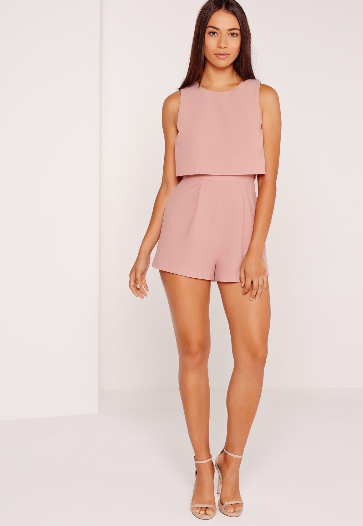 e1a2eec131b4 Missguided - Crepe sleeveless double layer playsuit Blush