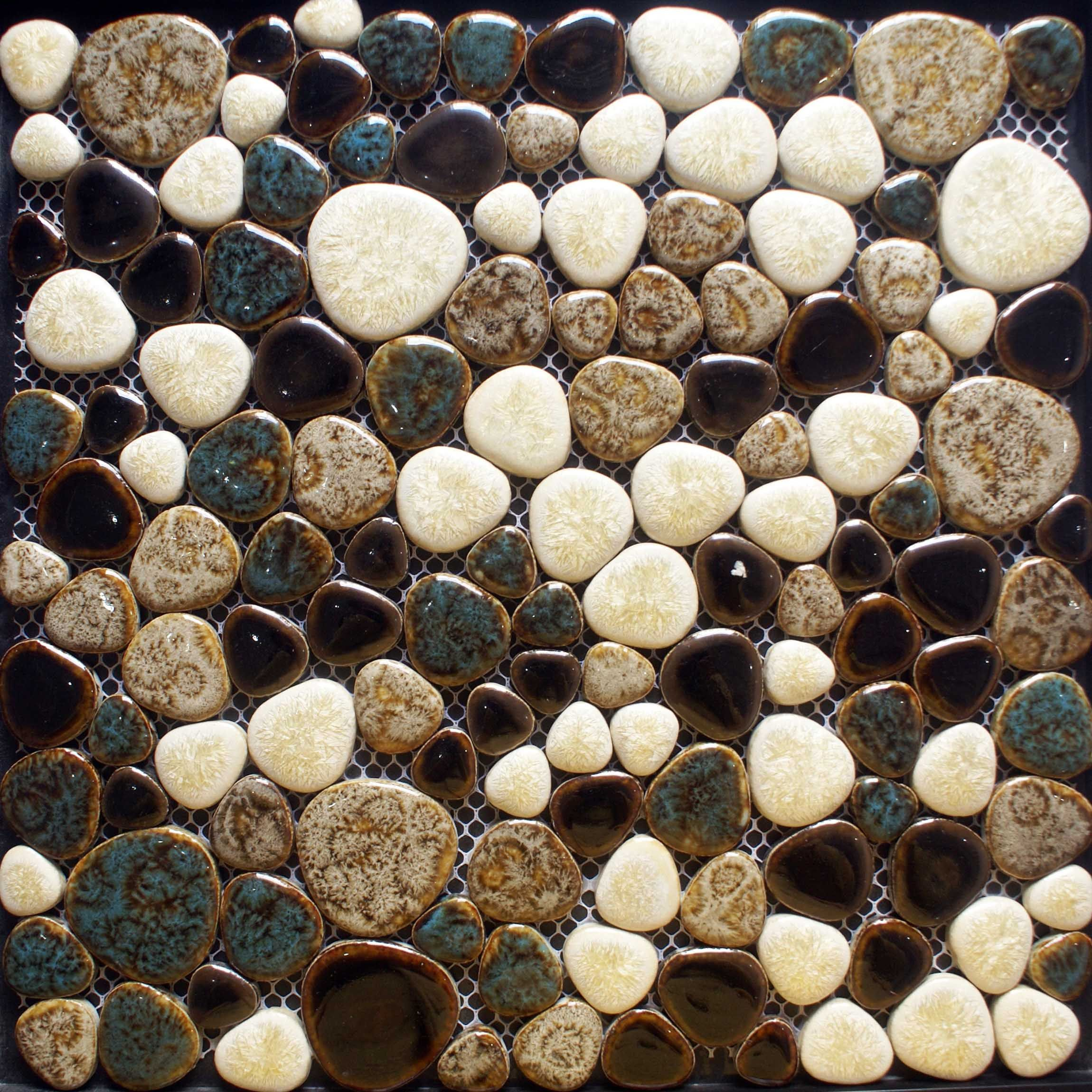 Heart shaped porcelain pebble tile sheets mosaic art mixed porcelain tile sheets glazed ceramic mosaic cheap pebble tiles heart shaped wall decor kitchen bathroom flooring size color cream and brown dailygadgetfo Gallery