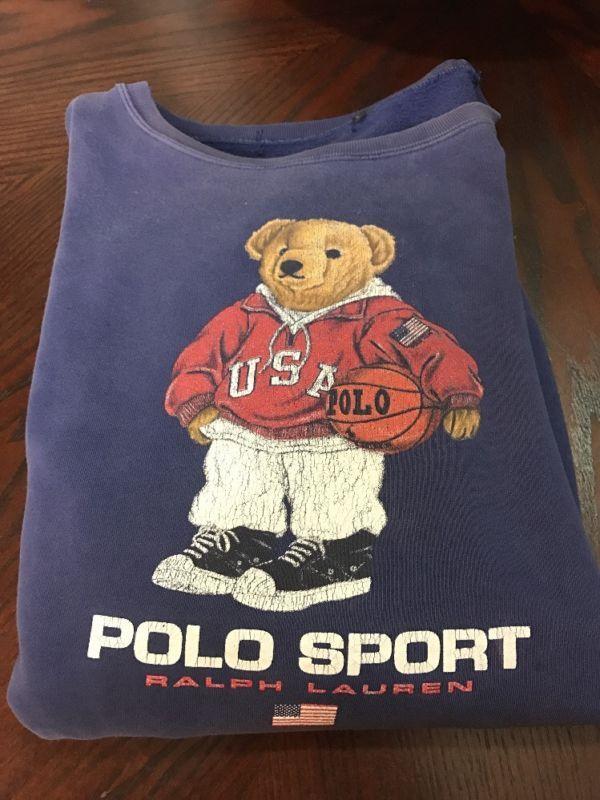 3ed6bd43559f5a VTG Polo Sport Ralph Lauren USA Basketball Bear Navy Sweatshirt L Hi Tech  Pwing