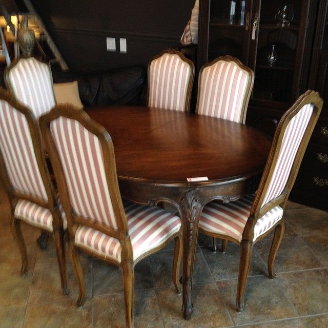 "French Provincial 60"" table w/6 fabric chairs & 2 - 14"" leaves."