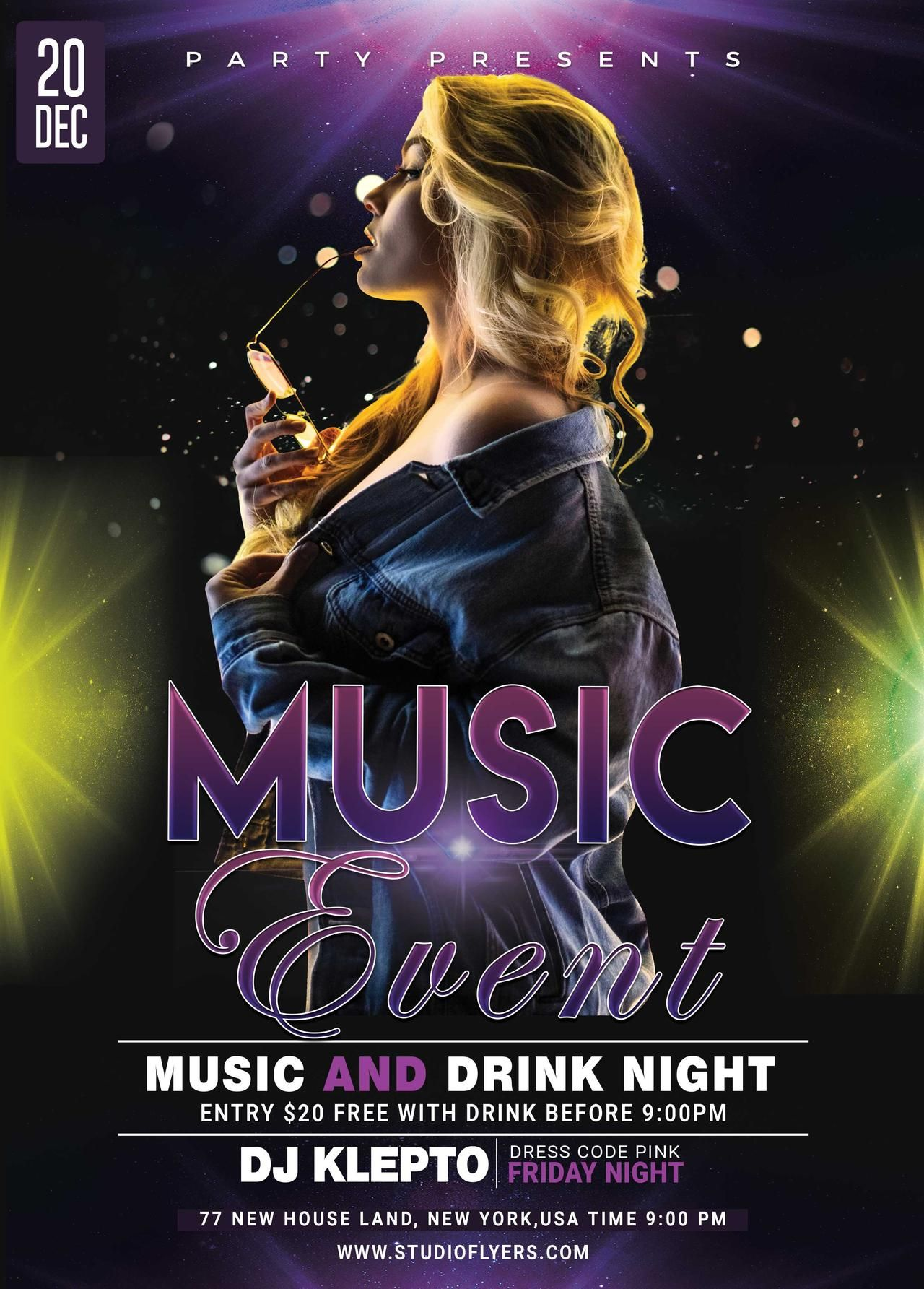 Music Event Free Psd Flyer Template Studioflyers Com Free Psd Flyer Templates Free Psd Flyer Free Flyer Templates