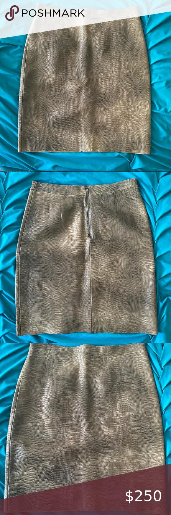 BCBG Mac Azria Real Leather Snake print Skirt Real leather designer skirt. Brand…