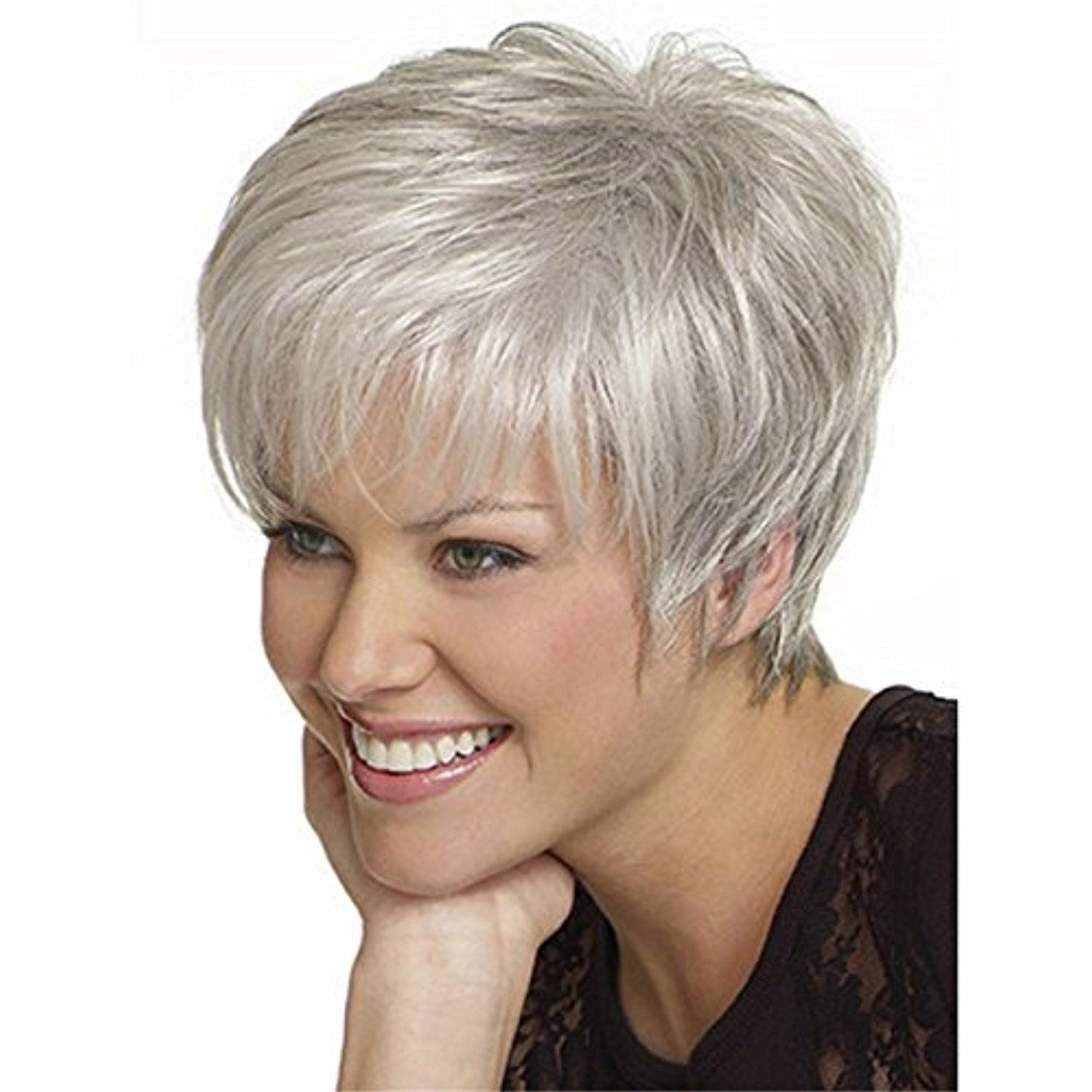 Yx womenus short fluffy wavy silver white synthetic wigs ueueue learn
