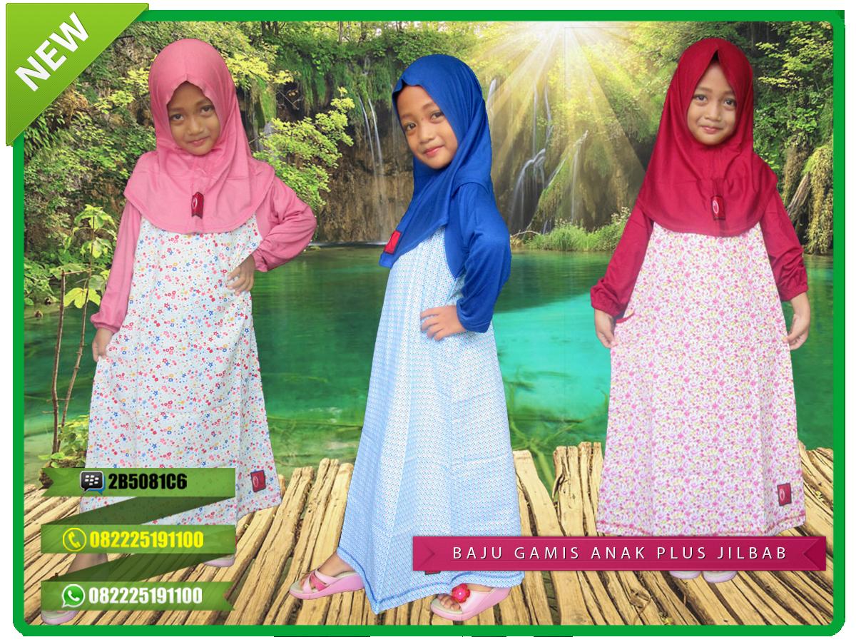Jual Baju Gamis Anak Bahan Kaos Berkualitas Model Plus Jilbab Dengan