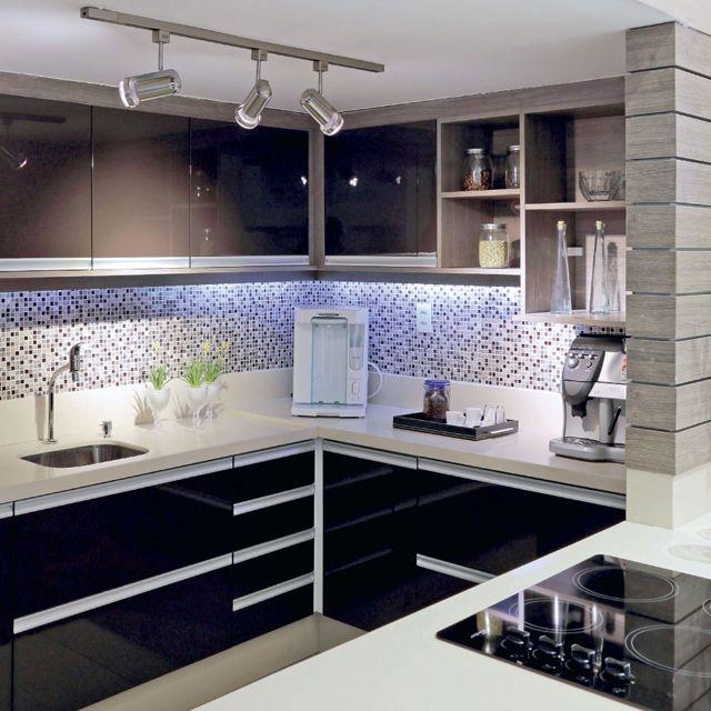 cozinha funcional kitchen ideas pinterest plan cuisine cuisine noir et coupe carr e. Black Bedroom Furniture Sets. Home Design Ideas