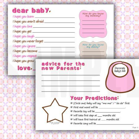 Pink Brown Baby Shower Guest Book Activity and Wish Cards. Set of 24. Double-sided Fun and Meaningful.