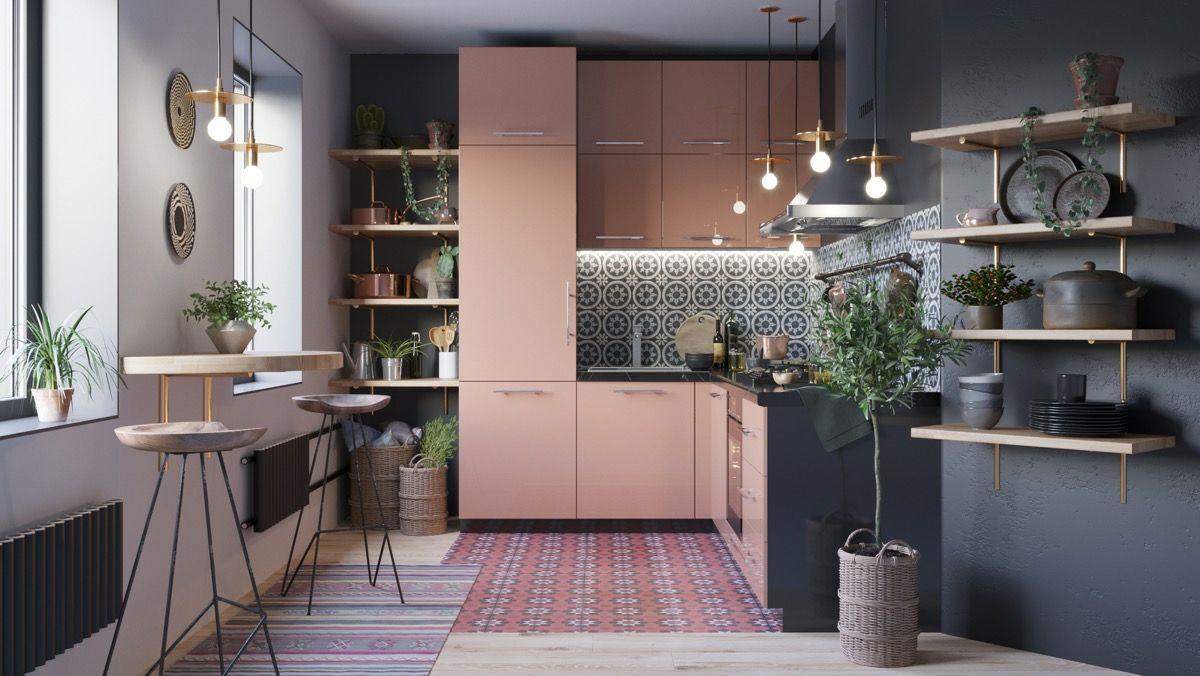 L-Form-Küche mit moderner Optik in einer Nische und kleine #Theke