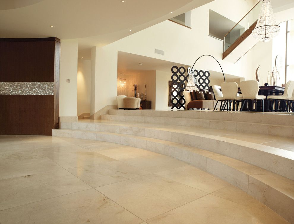 Crema Marfil Marble Tiles And Custom Made Curved Steps Http Www