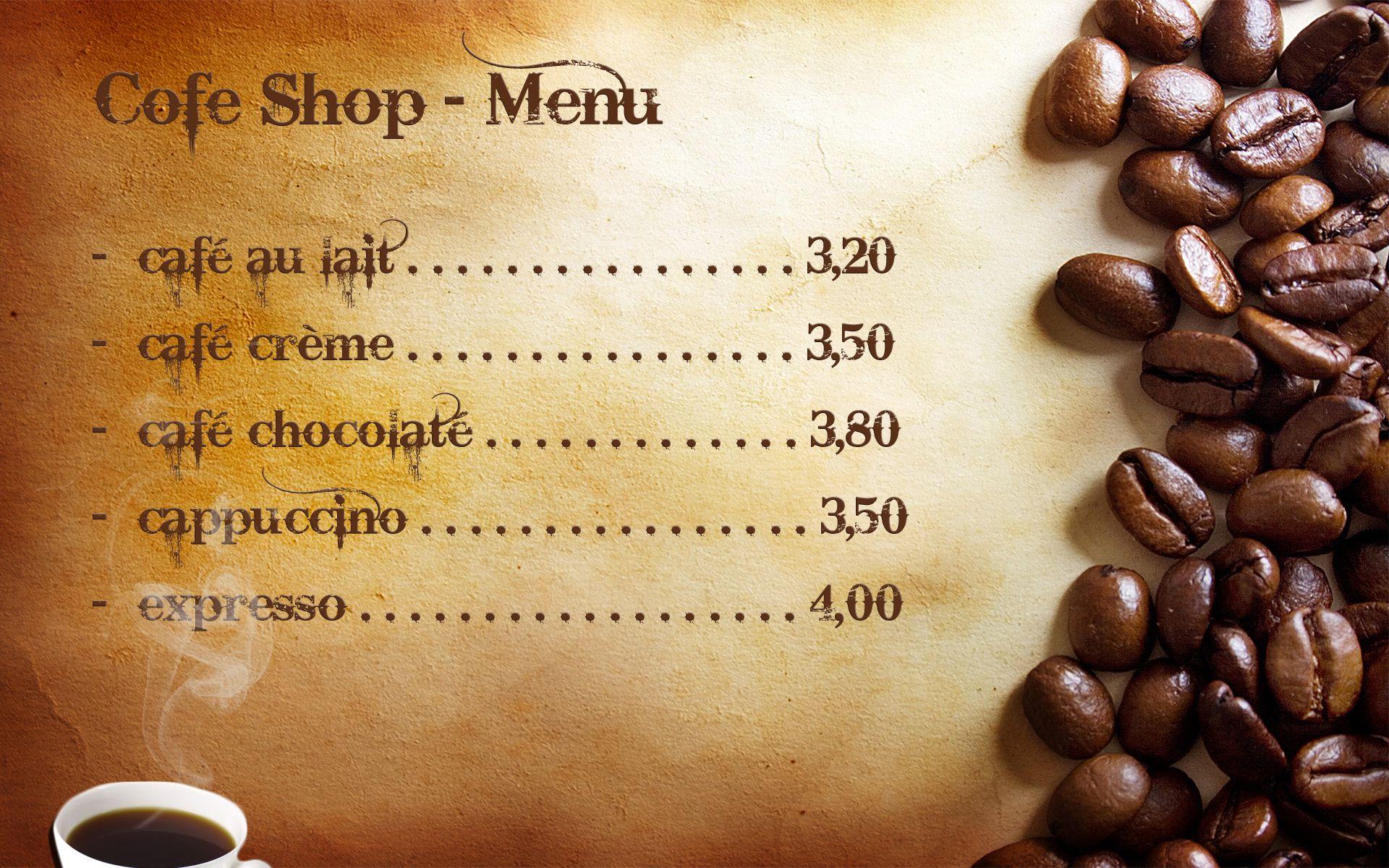 Cafe Menu Cafe Menu Menu Cafe
