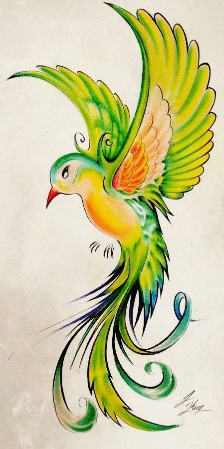 Oiseau en vol les les en peinture dessin couleur - Dessin oiseau en vol ...