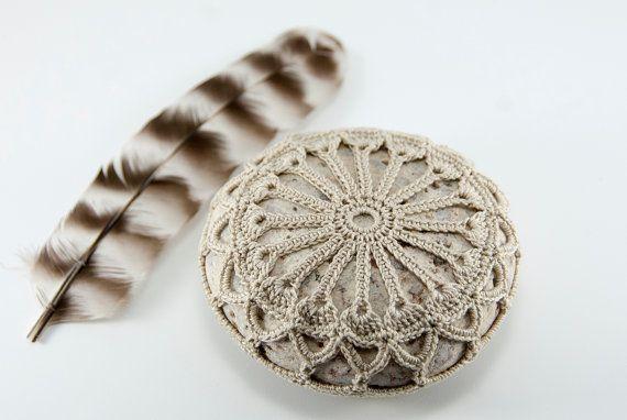 Crochet lace stone, rustic beach wedding decor, ring bearer pillow ...