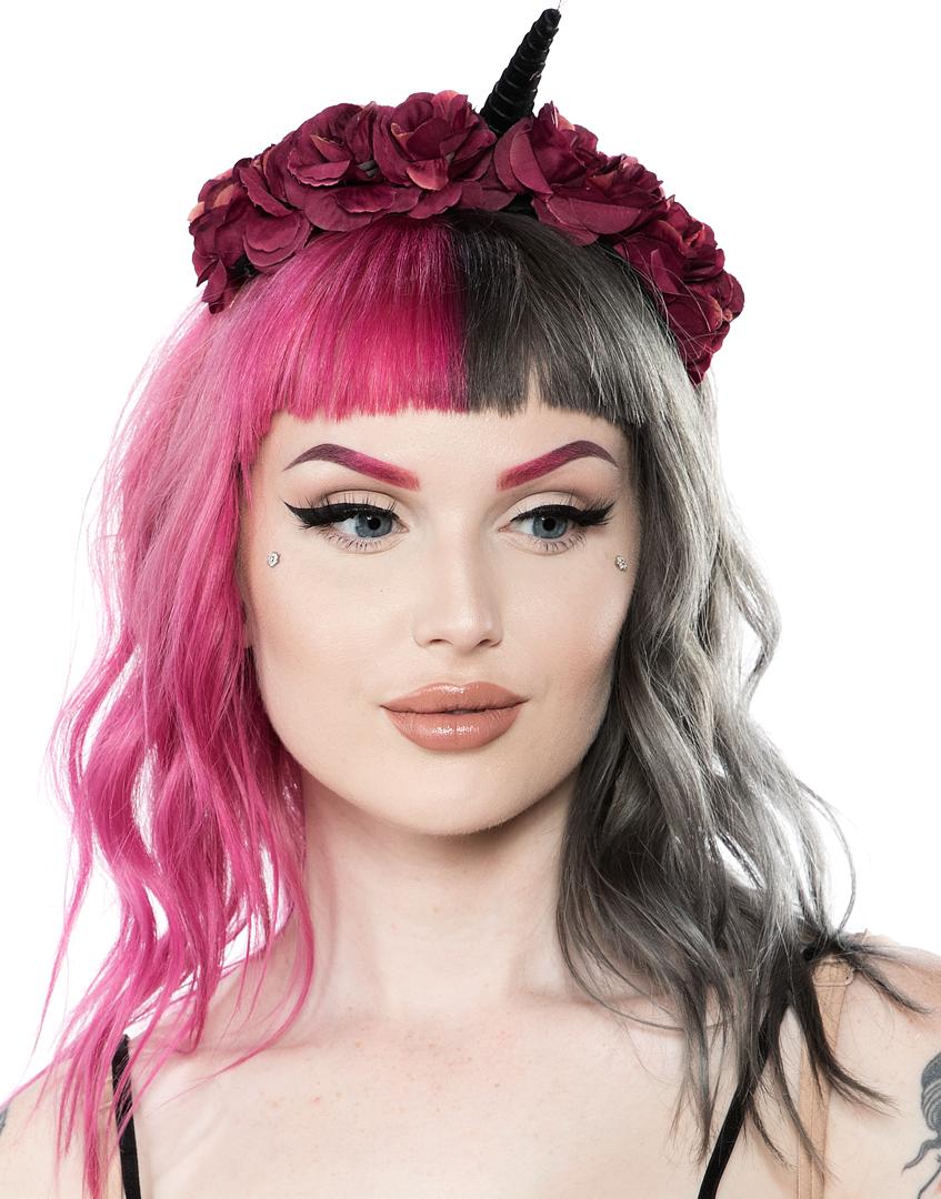 Black velvet unicorn flower headband Beauty tips for