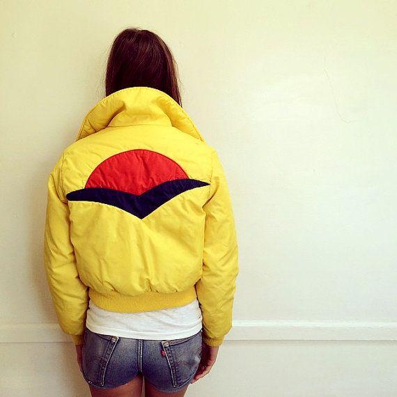 70s Mammoth Jacket Vintage Yellow Cropped Boho By Fenixvintage Jackets Vintage Yellow Rain Jacket