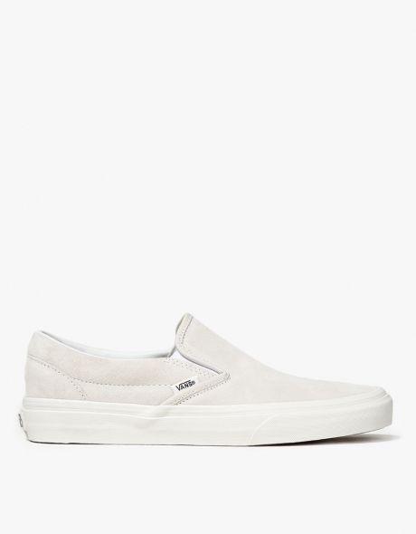 Vans Classic Slip On in True White | White slip on vans