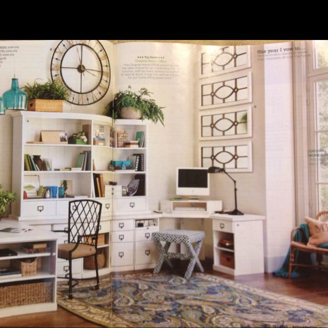 Beautiful Home Office!! Love The Paisley Rug And Big Clock