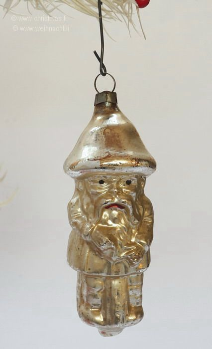 Mushroom Man with Mustache. German Christmas Ornament.