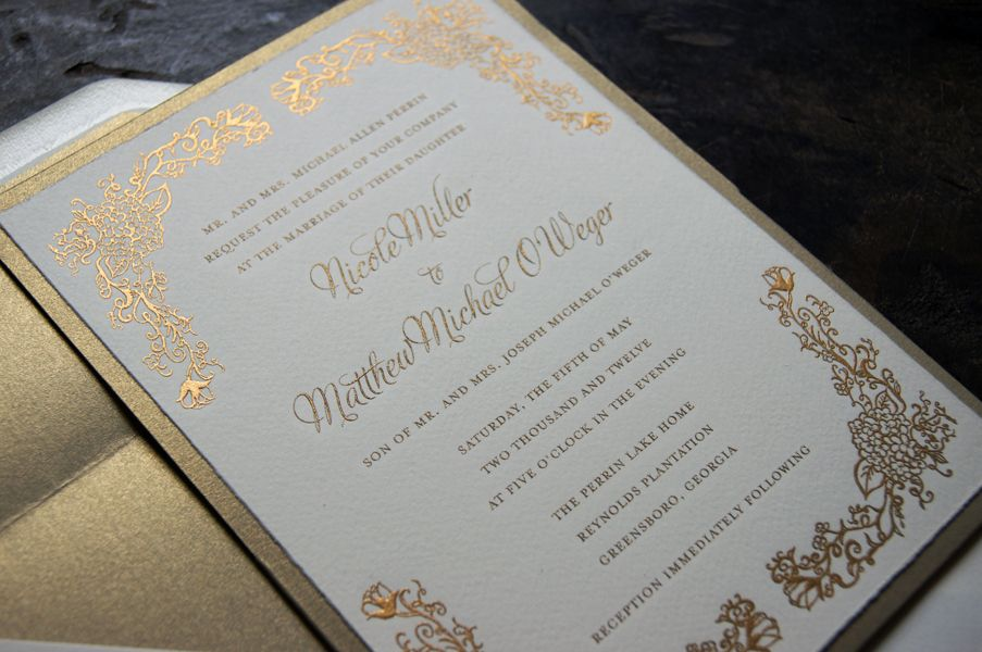 this custom hand drawn by tickled ink invitation is engraved in