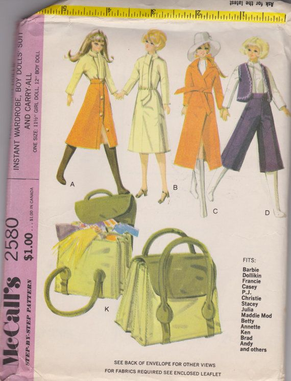 Barbie and Ken Tote Carry All Clothes UNCUT Patterns | Barbie sewing ...