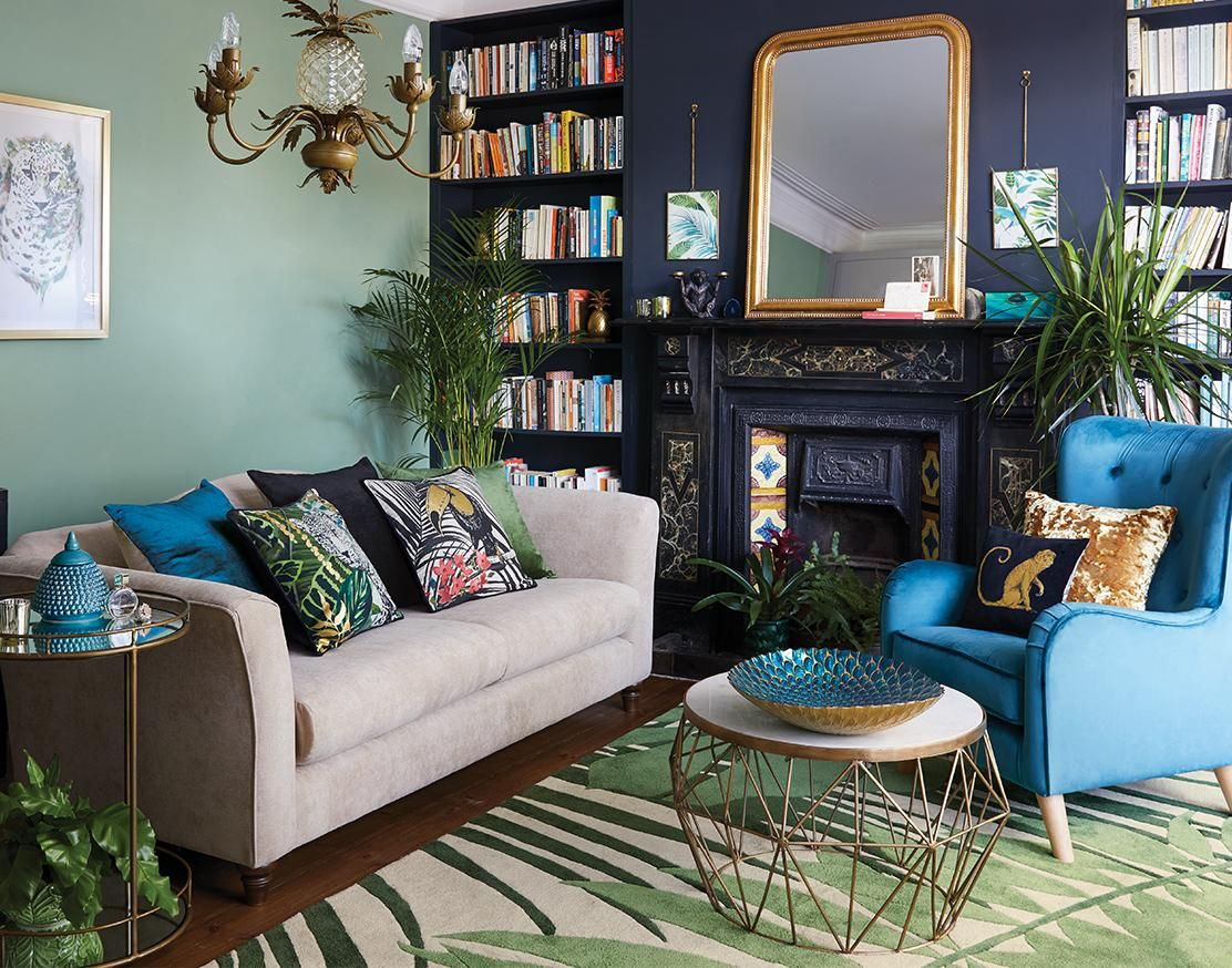 Best Modern Eclectic Living Room Green Blue And Gold Art Deco 640 x 480