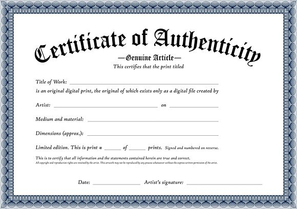 Certificate Of Authenticity Of An Original Digital Print For Certificate Of Authentici Free Printable Certificates Printable Certificates Certificate Templates