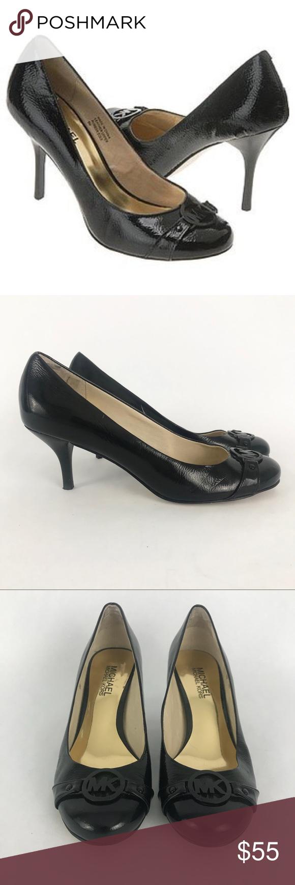 Michael Kors Patent Fulton Kitten Heel Black 6 Kitten Heels Black Heels Heels