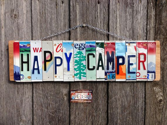Happy Camper License Plate Sign Office Decor Positive Quotes Sign Camping Decor Camping