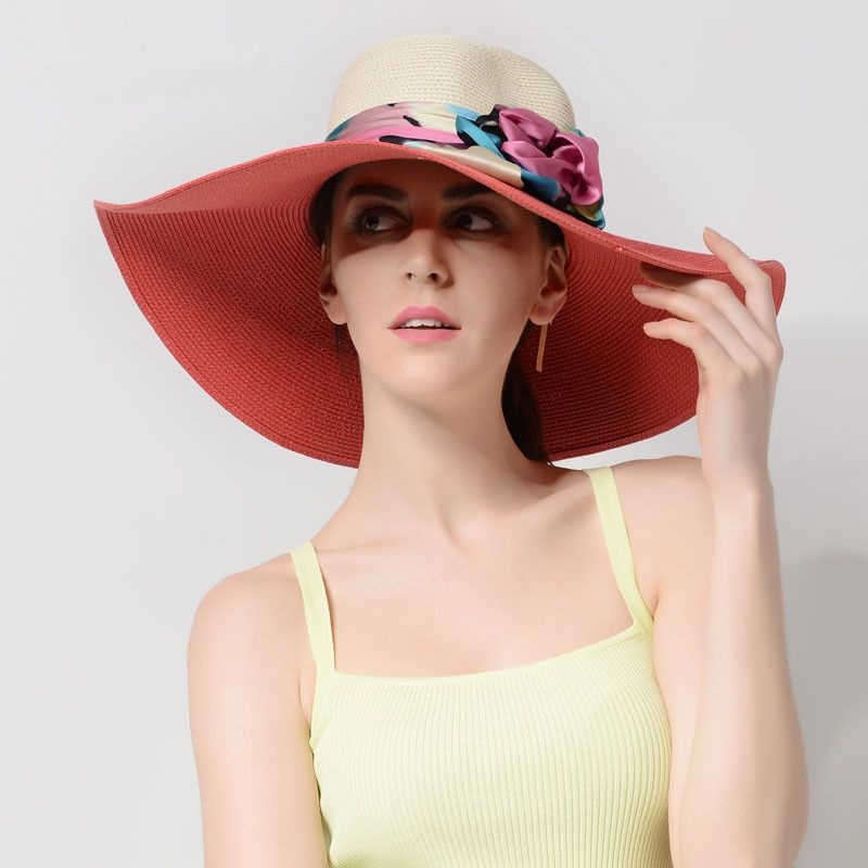 ab56104736b Summer floppy straw sun hat for women best sun protection hats with a bow