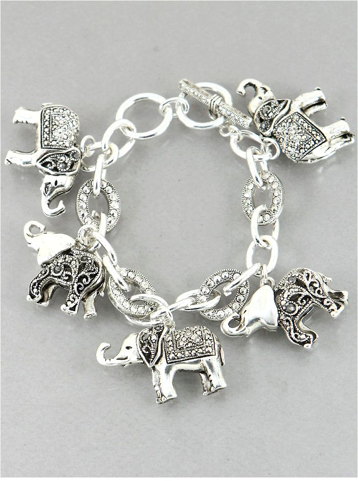 elephant plated color shop charm crystals bracelet multi b gold and
