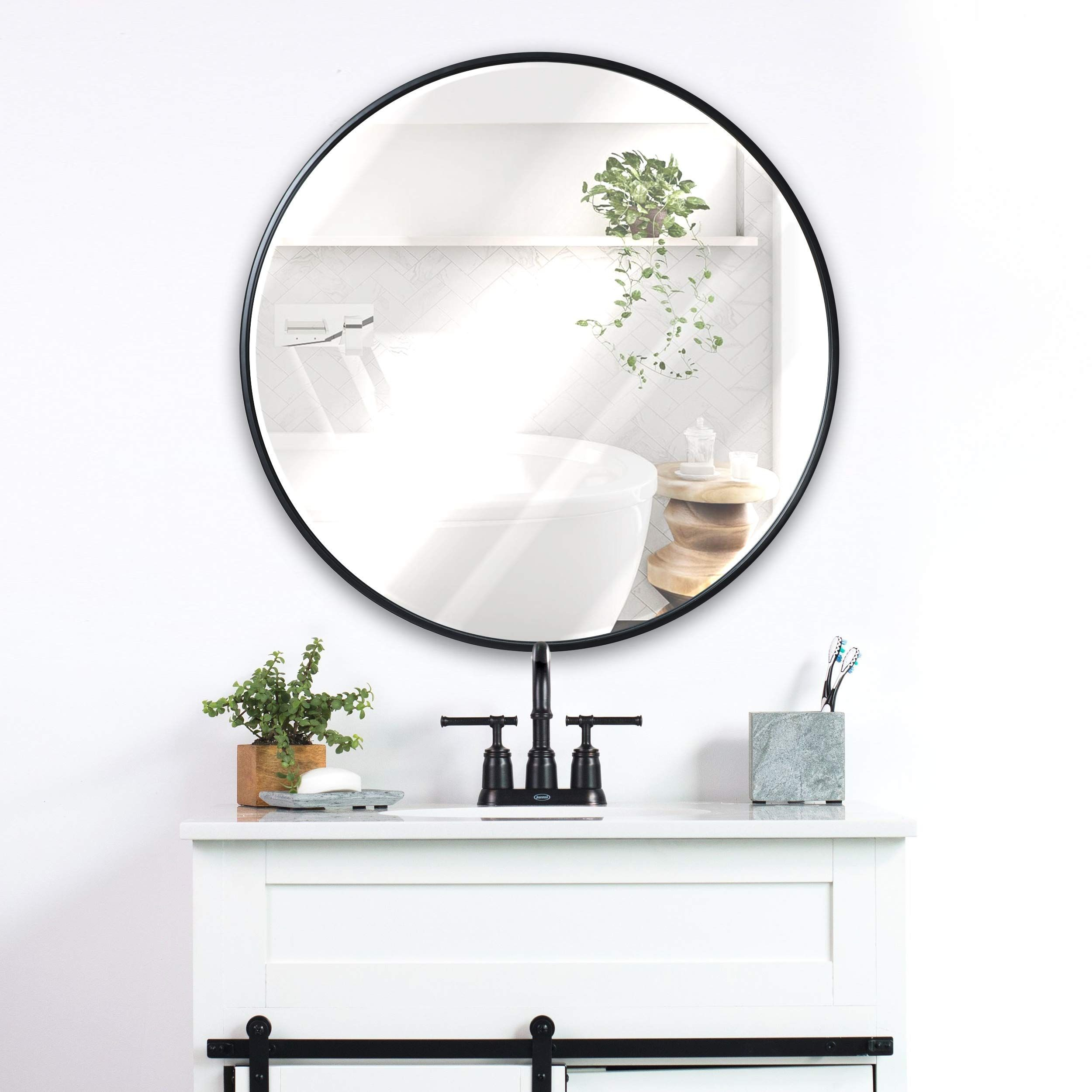 Black Round Wall Mirror 24 Inch Large Round Mirror Rustic Accent Mirror For Bathroom Entry Dining Room In 2020 Round Mirror Bathroom Round Wall Mirror Bathroom Mirror