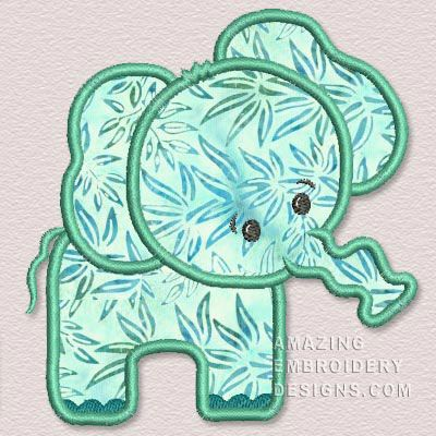 Amazing Embroidery Designs Green Applique Elephant Crafts