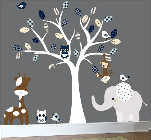 jungle wall decal - nursery white tree wall decal - dark blue, brown
