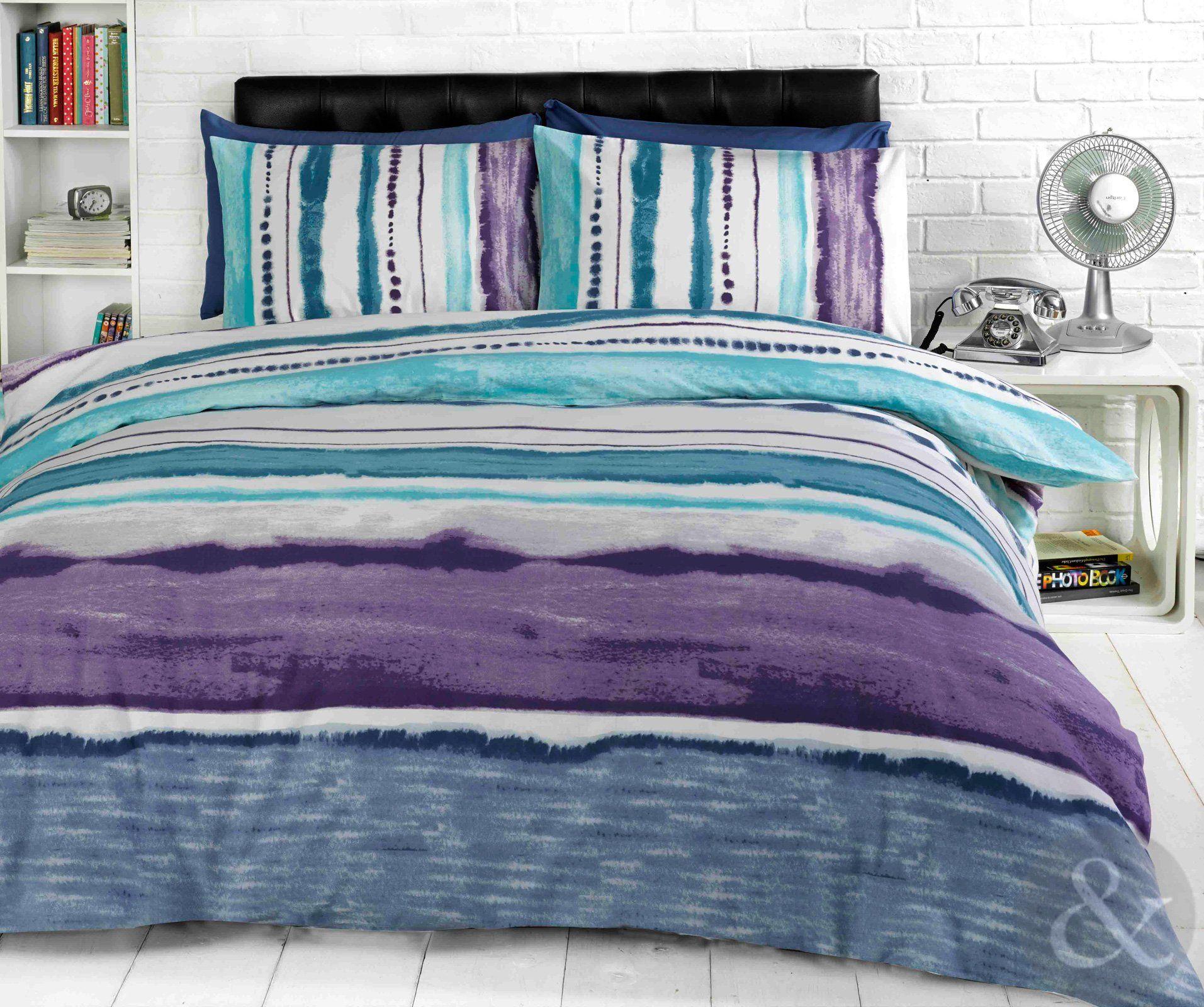 Tye Dye Printed Bedding Contemporary Striped Duvet Cover
