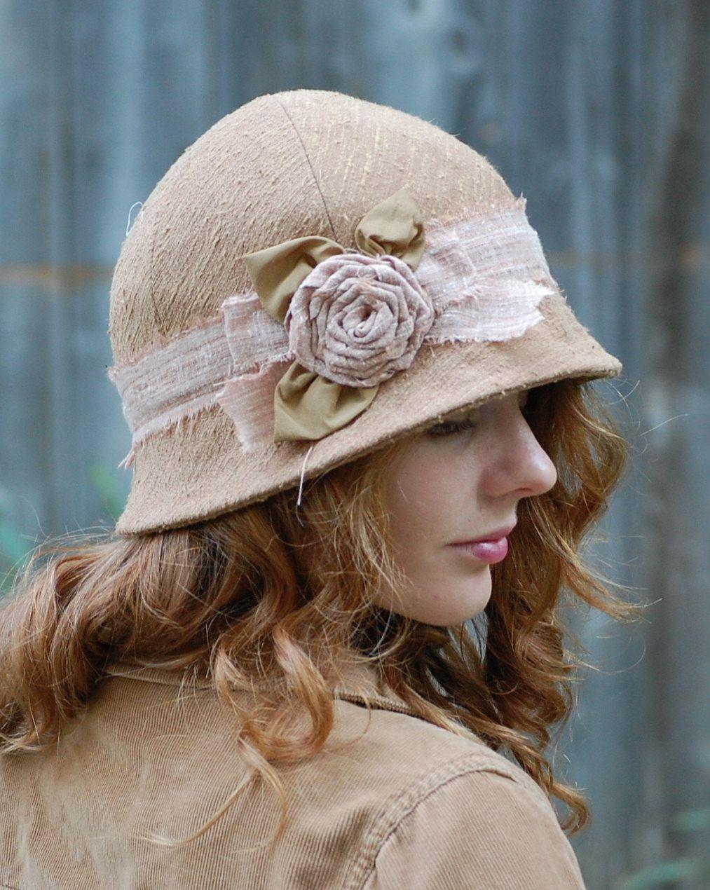 Rose Cloche Hat Shabby Chic Romantic Vintage Style  233f0f29cff