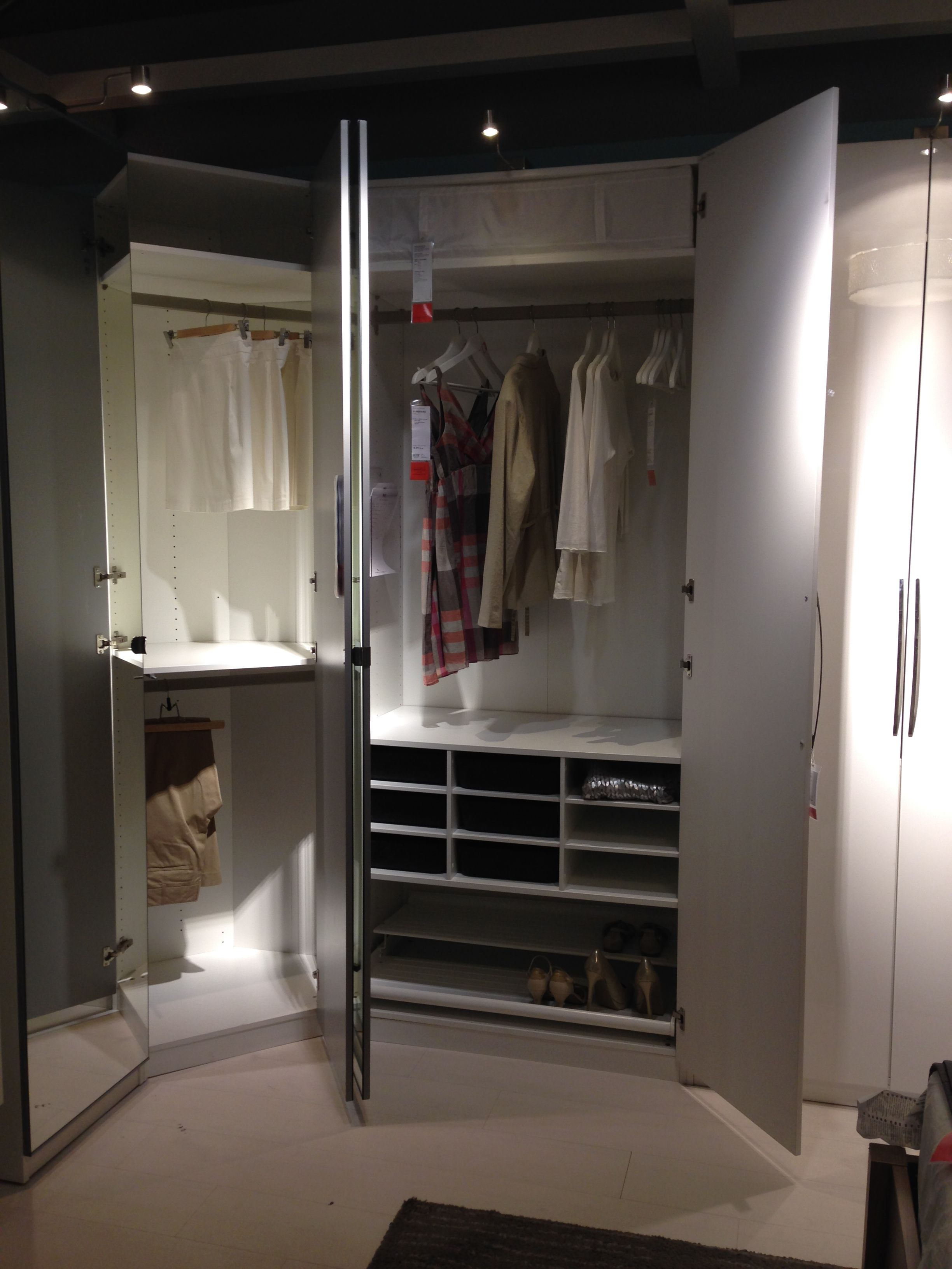 Pax wardrobe frame, Vikedal mirror door, Fardal door