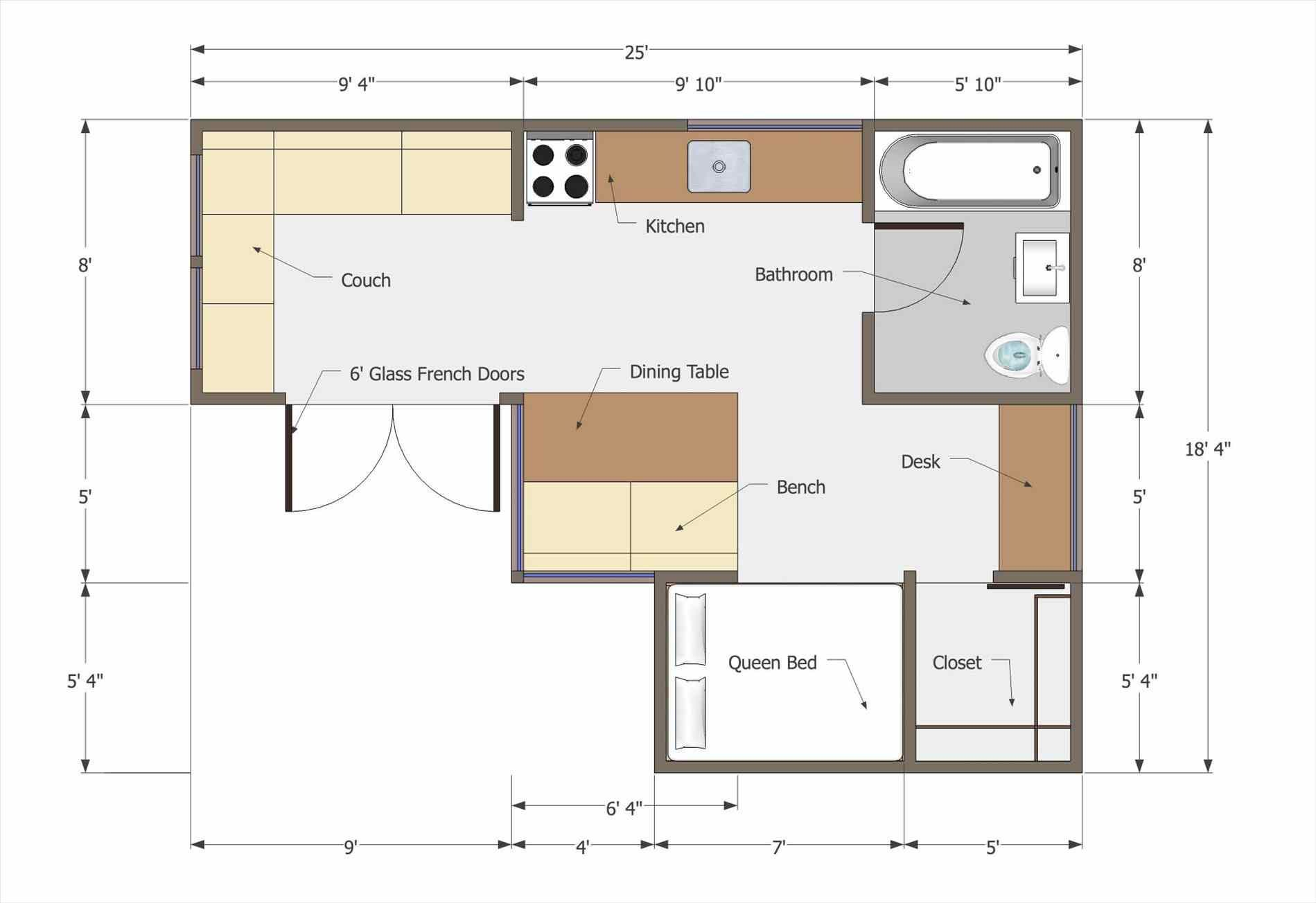 The Images Collection Of Studio Apartment Tiny House Floor Plans