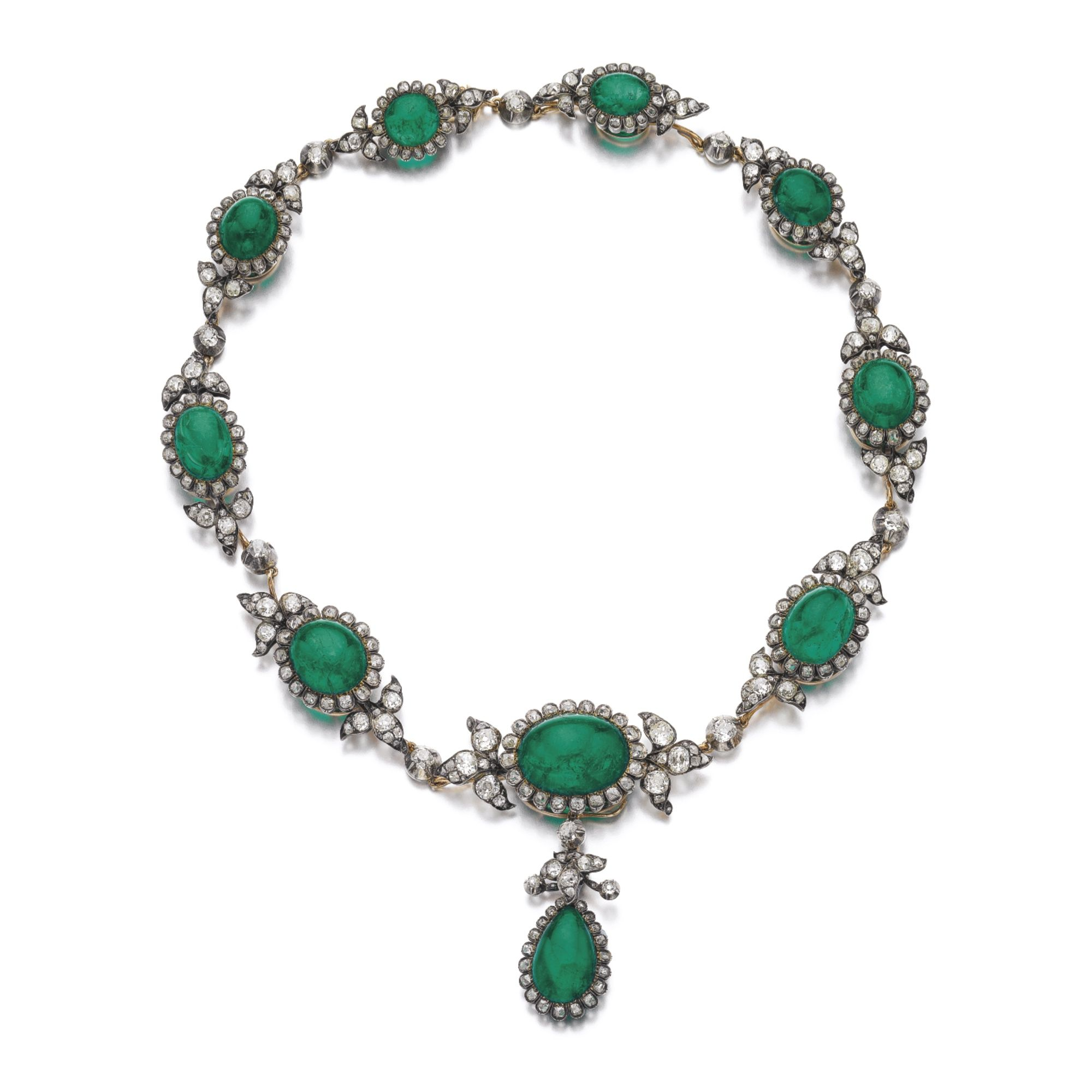Emerald and diamond necklace late th century set with cabochon