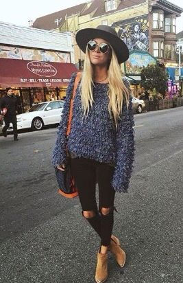 grey sweater - black pants - brown purse - structured hat - brown boots - ankle boots - sunglasses - spring - fall