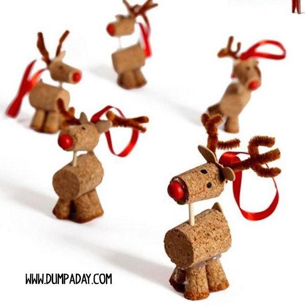 Renos con corchos adornos de navidad diy navidad con for Manualidades renos navidenos
