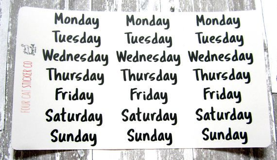 Days of the week bullet journal stickers clear stickers