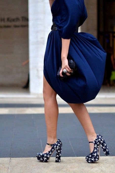amazing dress and heels. navy ~ shoes ~ ring ~ bright & beautiful.