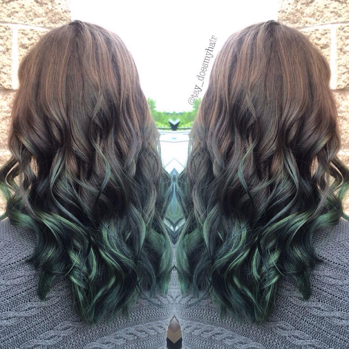 Brown to green ombre #greenombrehair | Zielone włosy ...