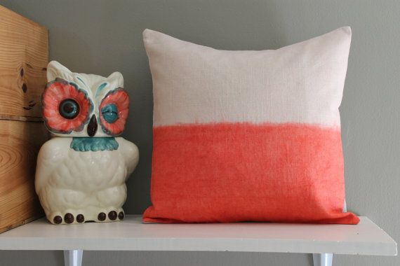 coral sands // coral & grey pillow // dip dye by FightingforJoy, $28.00