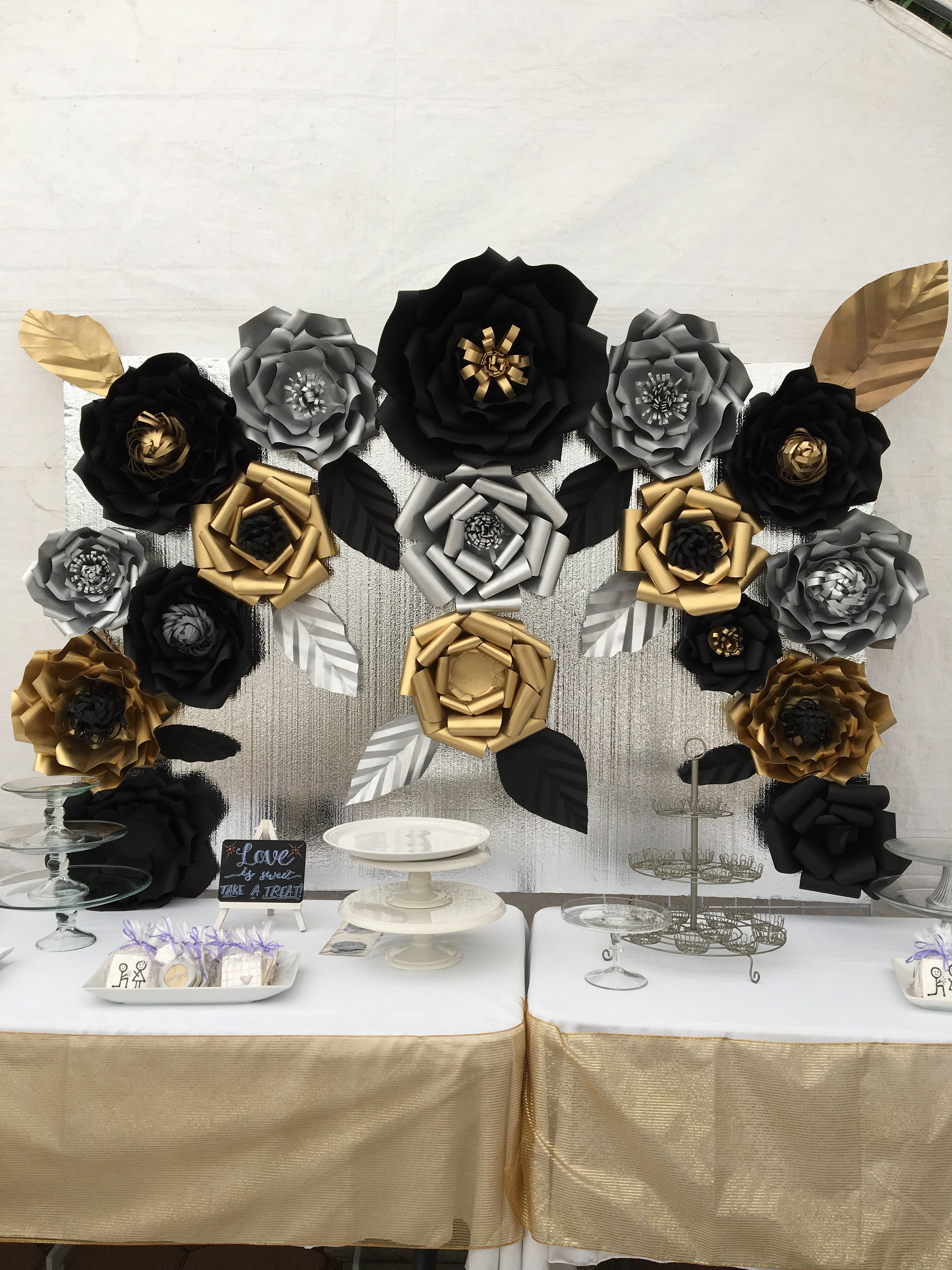 Candy Table Paper Flower Backdrop Black Silver And Black