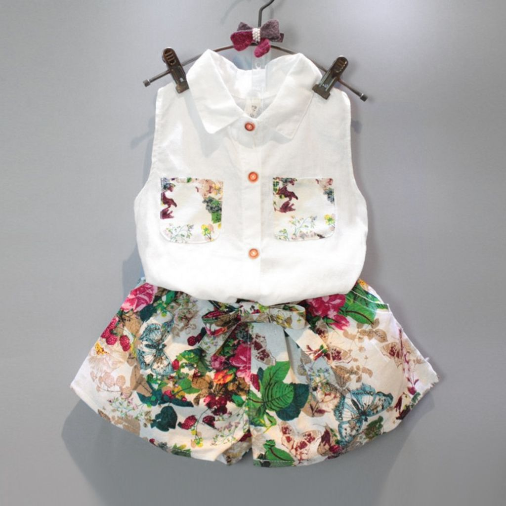 Children Baby Boys Girls Blouse Vest Kids Tops+Short Pant Outfits Clothes Set