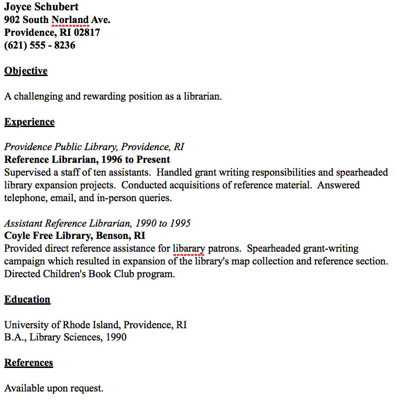 References On Resume Example Example Of Librarian Resume  Httpresumesdesignexampleof